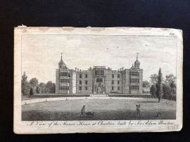 UK 1777 Antique Print. View of the Manor House at Charlton, Kent